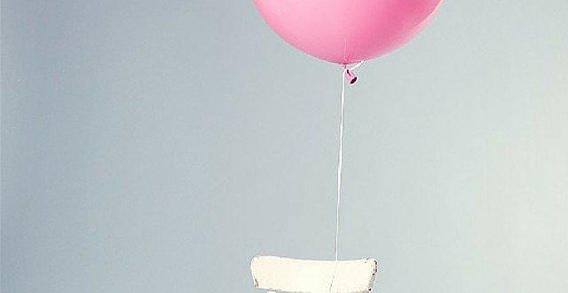pink balloon white chair gratitude