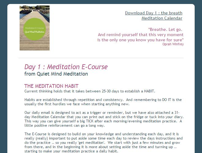 Meditation eCourse Daily Theme