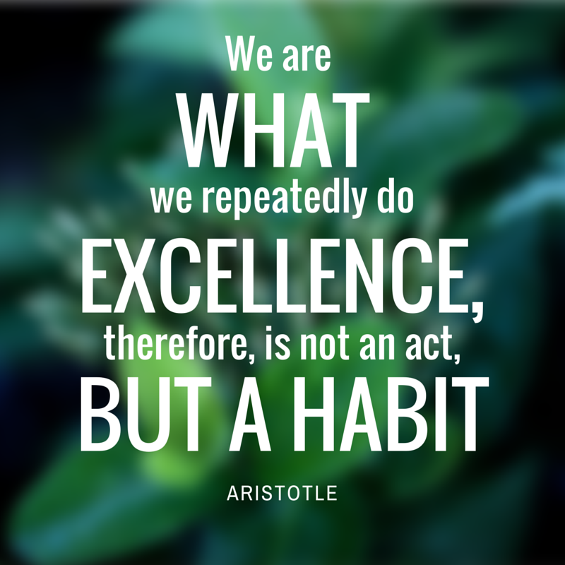 Aristotle Quote Excellence is a Habit