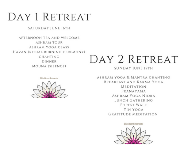 Bliss Bomb Retreats Ashram Agenda